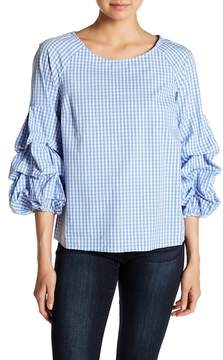 Design History Gingham Ruched Sleeve Top