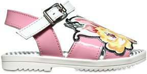 Simonetta Floral Patches Leather Sandals