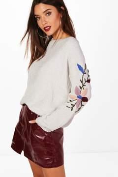 boohoo Soft Knit Embroidered Sleeve Jumper