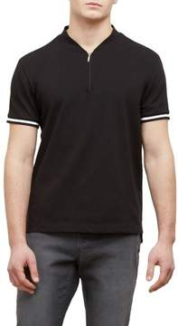 Kenneth Cole New York Reaction Kenneth Cole Solid Interlock Zip Polo Shirt Shirt - Men's
