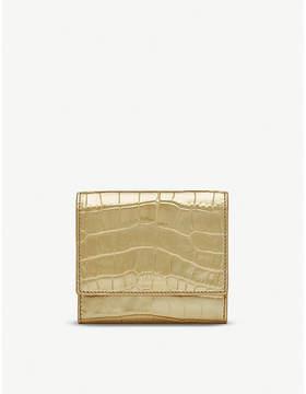 Smythson Mara crocodile-embossed metallic leather french purse