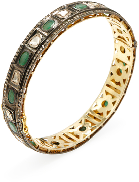 Artisan Women's 18K Gold, Emerald & 3.58 Total Ct. Diamond Bangle Bracelet