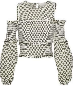 Cinq à Sept Cold-Shoulder Shirred Printed Silk Top