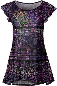 Lily Black & Purple Stained Glass Flutter-Sleeve Tunic - Women & Plus