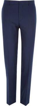 River Island Mens Navy herringbone tailored suit pants