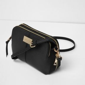 River Island Womens Black triple compartment cross body bag