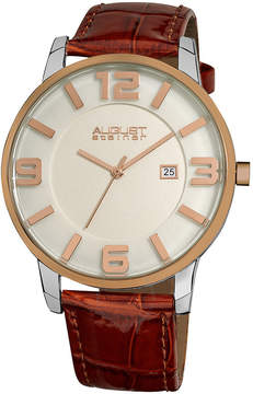 August Steiner White Dial Rose Gold-Tone Metal Brown Leather Men's Watch