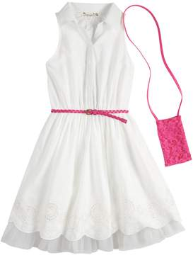 Knitworks Girls 7-16 Belted Shirtdress with Crossbody Purse Set