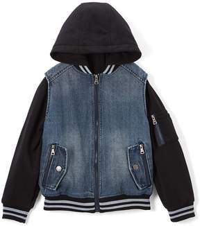 Urban Republic Black & Medium Wash Hooded Denim Jacket - Boys