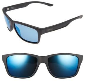Smith Men's Wolcott 58Mm Polarized Sunglasses - Matte Black/ Blue Mirror Lens