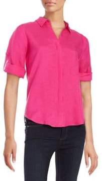 Context Button-Tab Sleeved Blouse