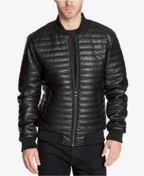 GUESS Men's Quilted Faux-Leather Bomber Jacket
