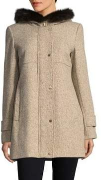 Ellen Tracy Snap-Front Fur-Trimmed Hooded Coat