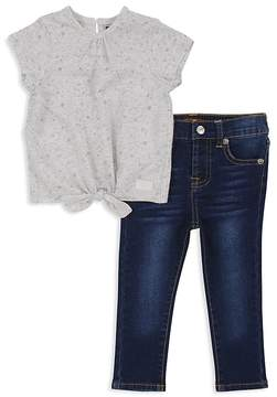 7 For All Mankind 7 For All Mandkind Girls' Tie-Front Tee & Skinny Jeans Set - Little Kid
