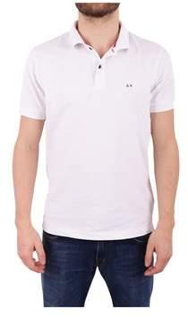 Sun 68 Men's White Cotton Polo Shirt.