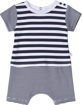 Absorba White and Navy Multi Stripe Romper