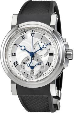 Breguet Marine Dual Time Silver Dial Black Rubber Men's Watch