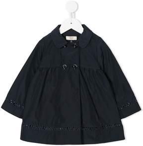 Emporio Armani Kids logo embroidered trim coat