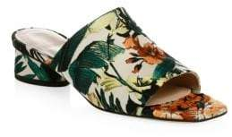 Stuart Weitzman Slide-In Embroidered Mules