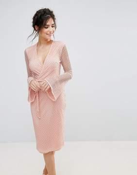 Club L V Neck Fishnet Flute Sleeve Midi Dress