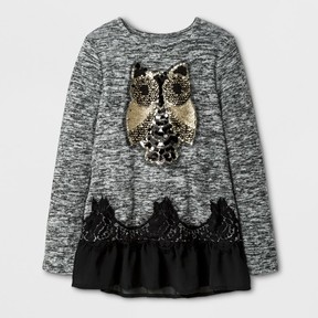 Miss Chievous Girls' Long Sleeve Top w/ Golden Owl & Black Mesh - Black