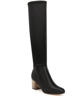 Donna Karan Charis Satin Gold Heel Over The Knee Riding Boots