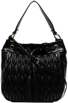 Miu Miu Black Matelassé Leather Bucket Bag