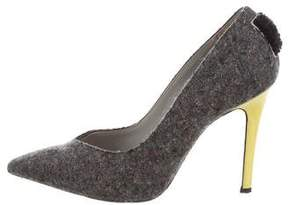 MSGM Flannel Pointed-Toe Pumps