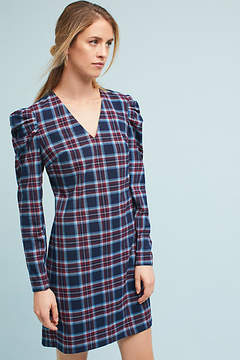 Donna Morgan Plaid Ruched-Sleeve Dress