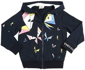 Fendi Butterflies Cotton Zip Up Sweatshirt