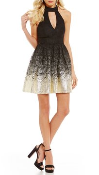 B. Darlin Lace Foil Dipped Fit-And-Flare Dress