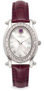 Croton February Birthstone Watch with Mother of Pearl Dial