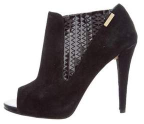 Calvin Klein Collection Suede Peep-Toe Booties