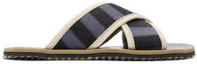 Marni Blue and Black Striped Nastro Sandals