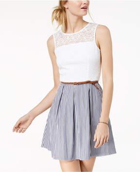 BCX Juniors' Lace-Bodice Fit & Flare Dress