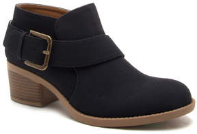 Qupid Black Buckle-Accent Philly Bootie - Women