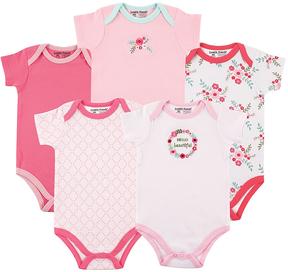 Luvable Friends Pink Floral Short-Sleeve Bodysuit - Set of Five