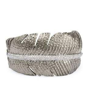 Michael Aram Rhodium-Plated Silver & Diamond Feather Cuff