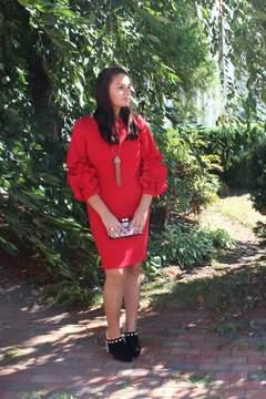 Alberto Makali Dramatic Red Dress