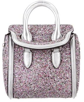 Alexander McQueen Metallic Mini Glittered Heroine Bag