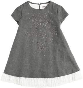 Ermanno Scervino Studded Flannel Cotton Blend Dress