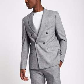 River Island Mens Light grey double breasted suit jacket