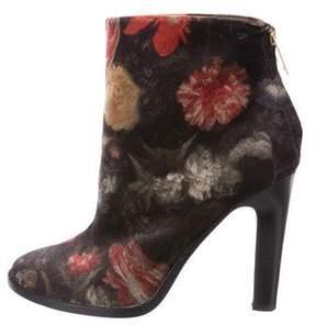 Joie Velvet Floral Print Ankle Boots