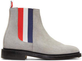 Thom Browne Grey Suede Chelsea Boots
