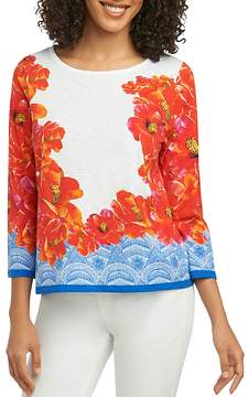 Foxcroft Hibiscus-Print Knit Top