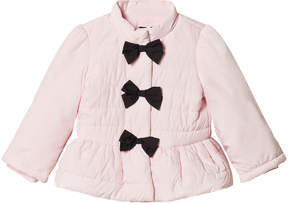Kate Mack Biscotti Pink Bow Detail Puffer Coat