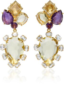 Bounkit Lemon Quartz and Clear Quartz Brass Two-Way Earrings