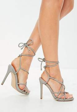 Missguided Gray Lace Up Heeled Gladiator Sandals