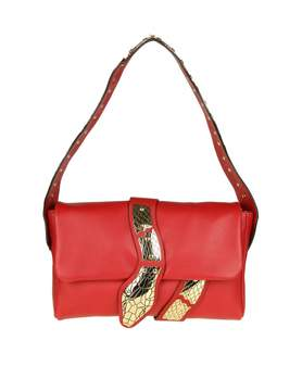 RED Valentino Shoulder Bag In Red Leather With Snake Detail