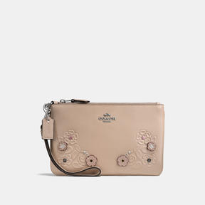 COACH Coach Small Wristlet In Glovetanned Leather With Tea Rose Tooling - LIGHT ANTIQUE NICKEL/STONE - STYLE